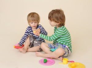 Children Sharing Pretend Food